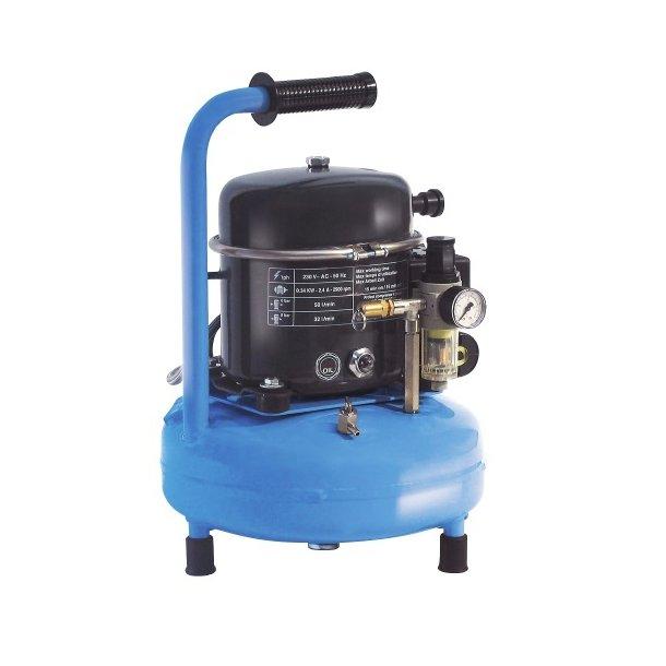 Kompressor, lydsvag, 0,5 hk., 9 ltr. tank, bærbar