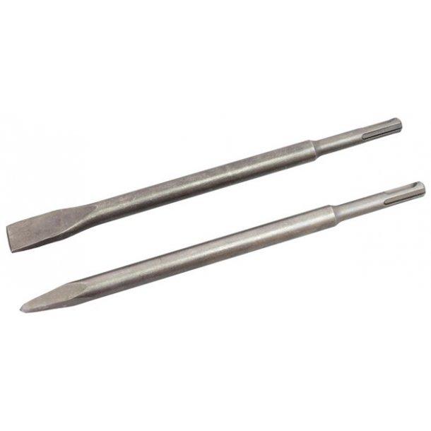 Mejselsæt SDS plus,. Flad + spids, lgd. 250 mm., 2 dele
