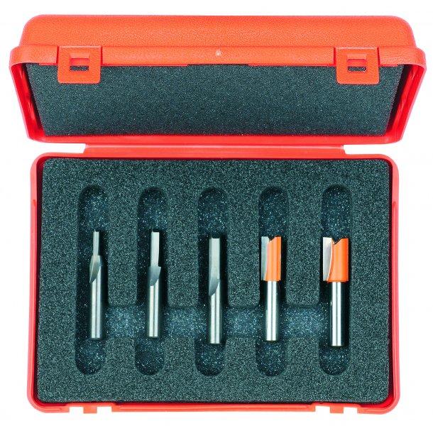 Overfræsesæt HM 5 dele/lige 4-12 mm., K8 i plastæske