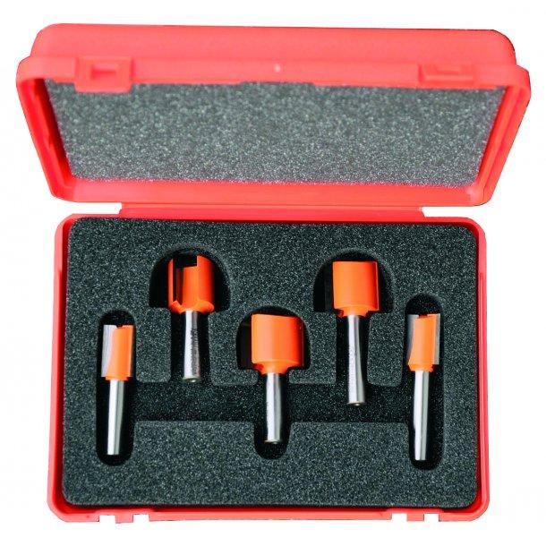 Overfræsesæt HM 5 dele/lige 14-25 mm., K8 i plastæske