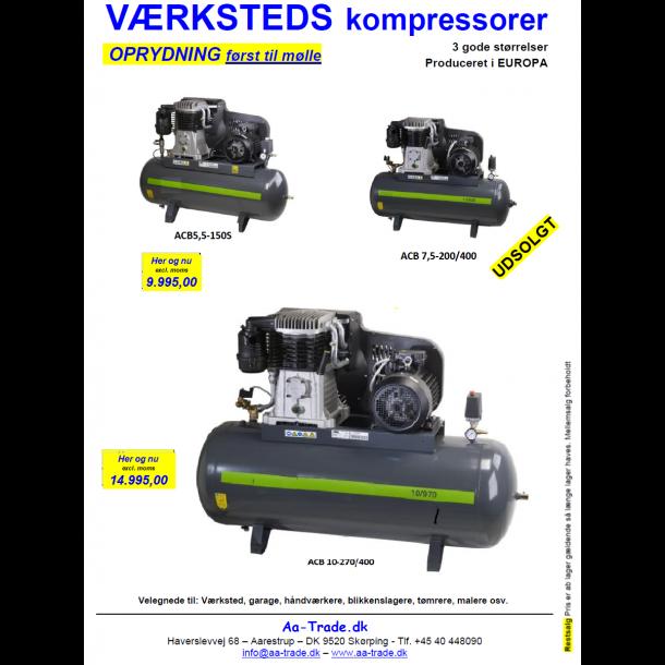 Kompressor, ACB 5,5-150S400, 5,5 hk., 150 ltr. tank, stationær